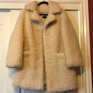 Topshop White Sherpa Pea Coat
